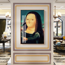 CHENFART High Quality Canvas Paintings Wall Art Fat Mona Lisa Portrait Oil Painting Wall Pictures For Living Room Home Decor(China)