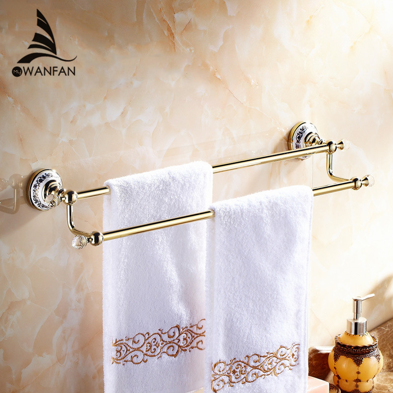 Towel Bars Wall Mounted Bathroom Accessories Crystal Double Chrome Towel Holder Ceramics Bathroom Hardware Home Decoration 6302 2015 copper golden chrome bathroom accessories suite bathroom double towel bar soap bars brush holder discbathroom accessories