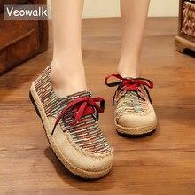 Veowalk Bông Tai Kẹp Handmade Vải Lanh Cotton Phối Ren Flat Thấp Đầu Hình Học Dép Nữ Espadrilles Giày Sneakers