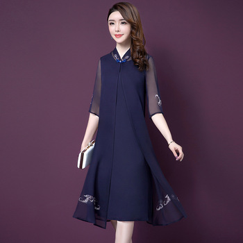 Good Quality 2019 Summer Wear Vintage Two-piece Set Dress Suit Plus Size Half Sleeve Woman Embroidery Chiffon Dress Mother Dress