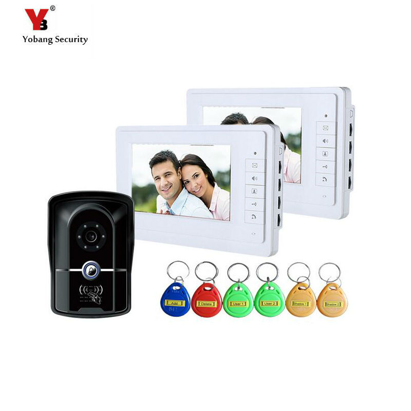 Yobang Security freeship 7``LCD door Video intercom system video door phone Camera Surveillance System id card access control 125khz rfid smart card door access control system 1000 user id card reader 7 inch video door phone video intercom system