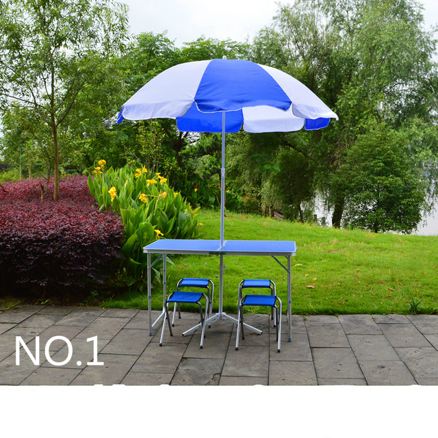 Double reinforcement folding table outdoor folding chairs set Aluminum Alloy stall folding table