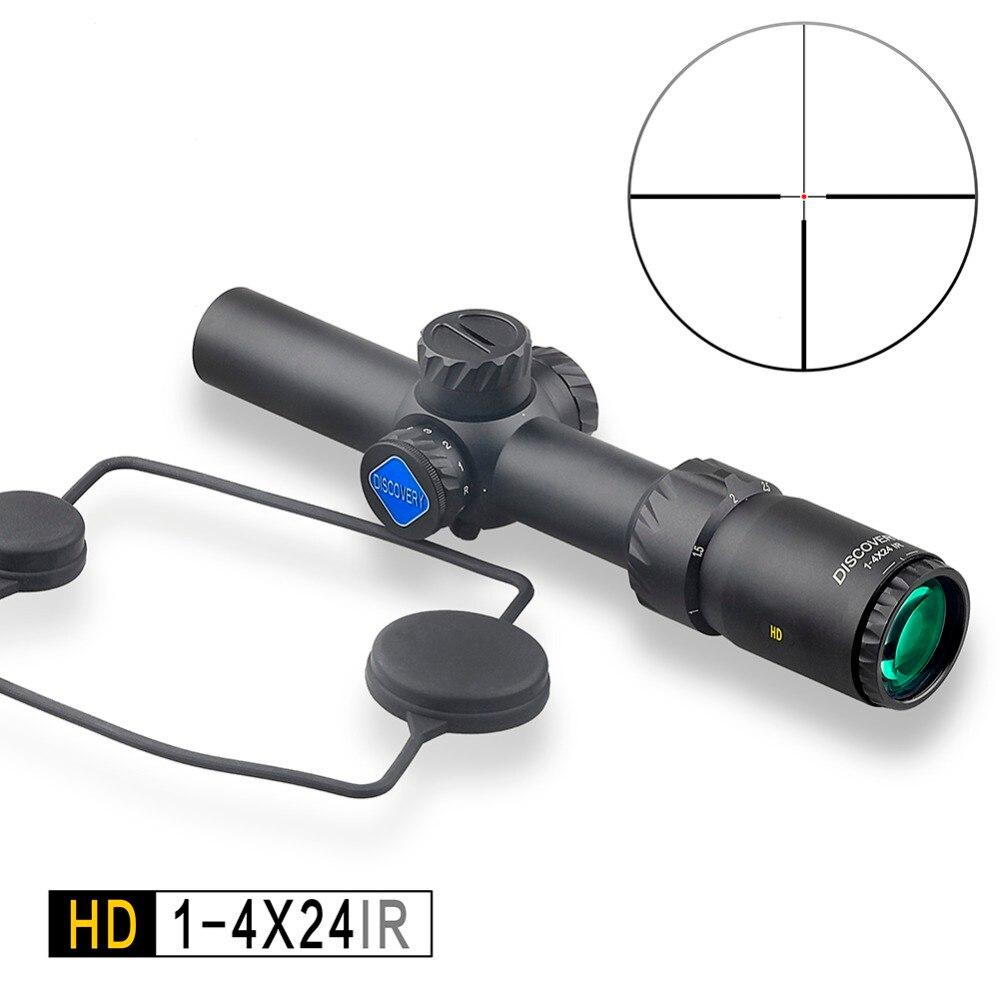 DÉCOUVERTE tactique de Chasse de Tir HD 1-4X24 IR Long dégagement oculaire Illumination R & G Télescopique champ de vision fit 30-06 308 AR15 M4