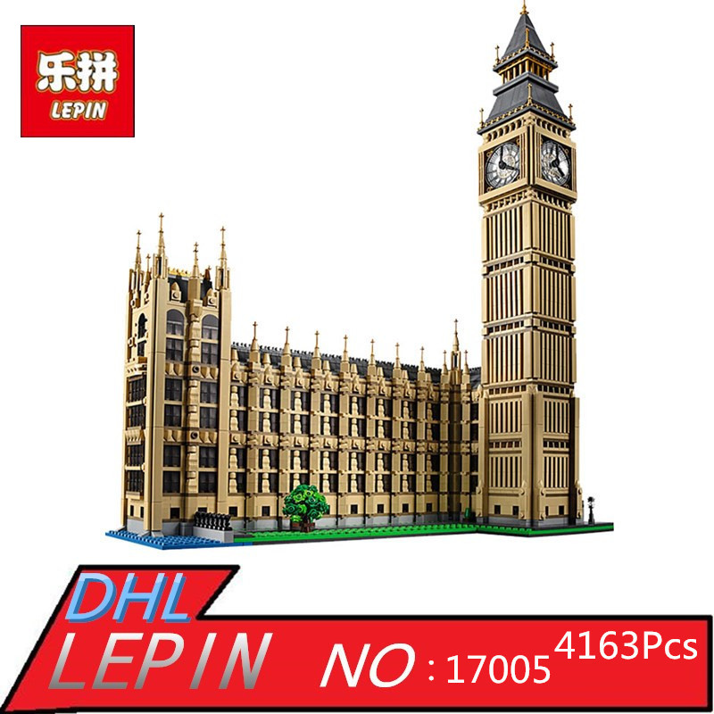 lepin 4163Pcs 17005 City Creator Big Ben Model Building Kit Blocks Bricks Compatible Children Toy Gift 1025 lepin 16008 creator cinderella princess castle city 4080pcs model building block kid toy gift compatible 71040