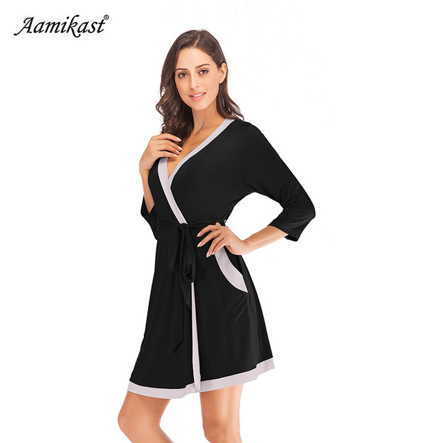db68c10452a Aamikast Autumn Winter Womens Maternity Pregnancy Labor Robe Delivery Nursing  Nightgowns Hospital Breastfeeding Gown S-XXL