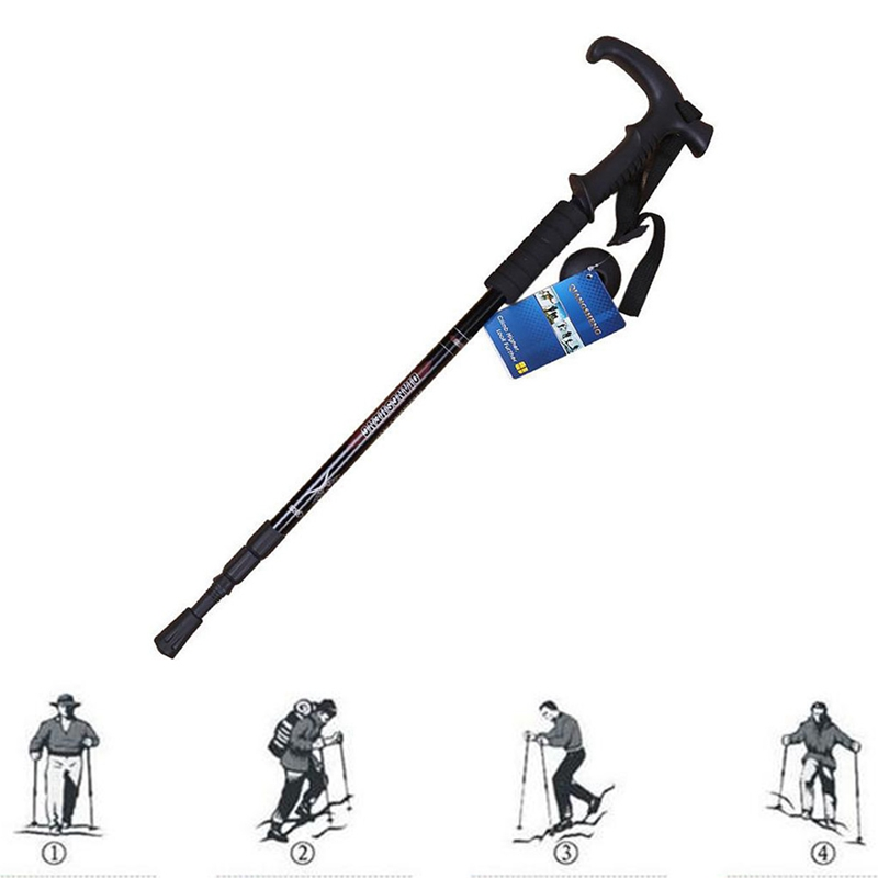 Walking Stick 3 Joints Straight Grip Handle Retractable Aluminum Alloy Cane Outdoor Climbing Accessories in Walking Sticks from Sports Entertainment