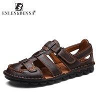 Summer Sandals Men Leather Classic Roman Sandals 2018 Slipper Outdoor Sneaker Beach Rubber Flip Flops Men Water Trekking Sandals