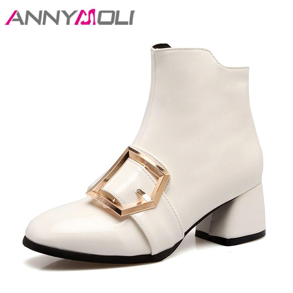 ebd655ed Vino Annymoli Negro Tinto Otoño Talones Blanco Grande Charol Tamaño Zapatos  Botas Mujeres Rojo Pu 12 ...
