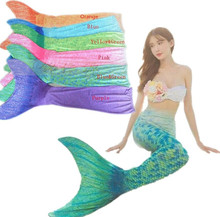 Adult Kids Mermaid Tail With Monofin font b Cosplay b font Costume Bikini Set Swimmable font
