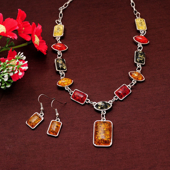 Vintage African Beads Jewelry Sets for Women Fashion Silver Color Square Charms Necklace 1