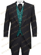 Free Shipping Jazz Cloth Mens Full Length Steampunk Corner Cutting Coat