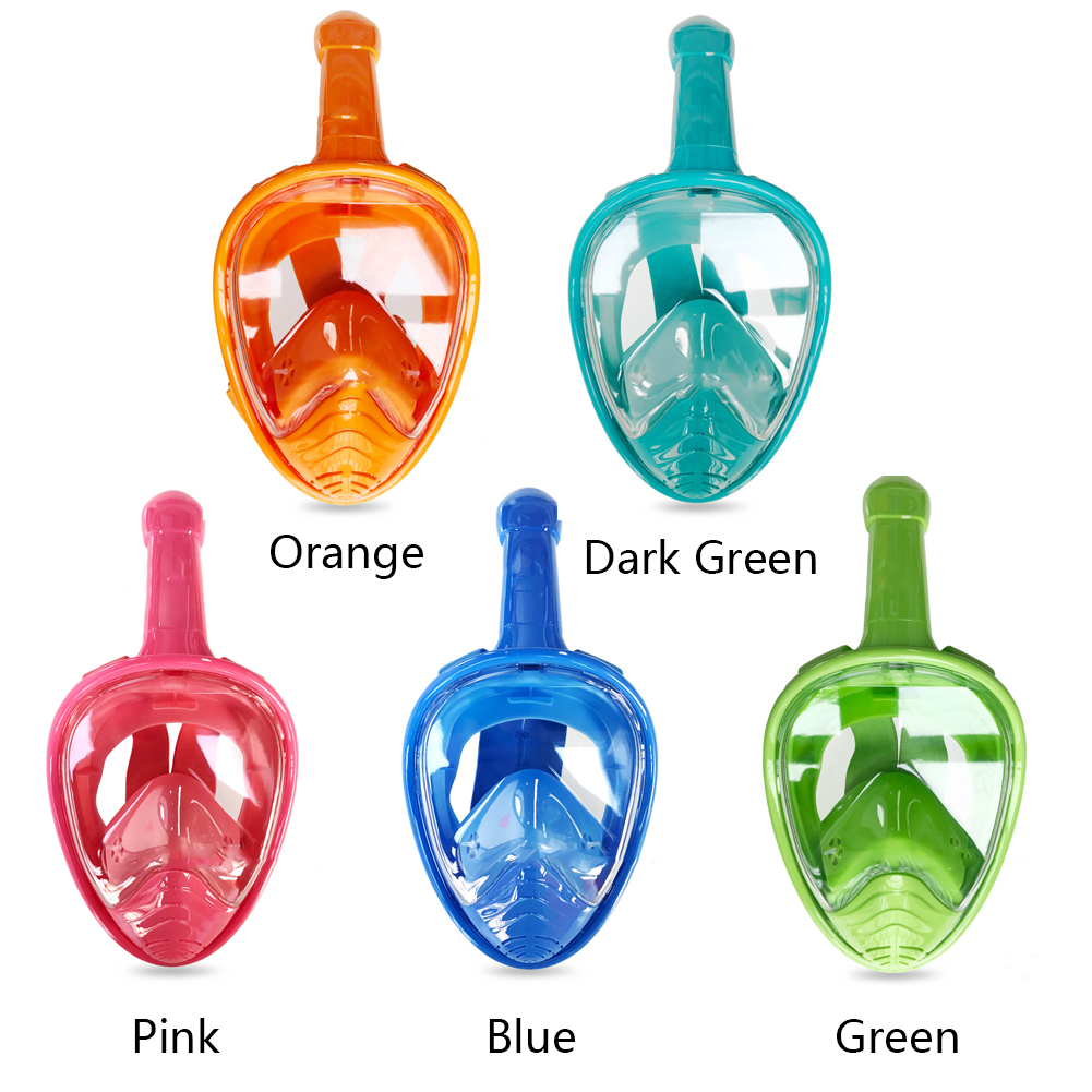 Anti Leak Snorkeling Tool Children 180 Degree Anti Fog Non Toxic Silicone Full Face Sealed Underwater Easy Breathing Diving Mask