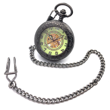 See Though Classic Black Case Arabic Number Dial Skeleton Steampunk Mechanical Hand Wind Pocket Watch Relogio De Bolso Nice Gift