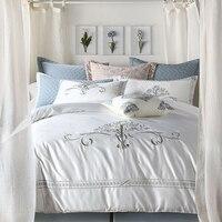 Роскошная Европейская вышивка 60 s набор постельных принадлежностей 6 шт набор домашнего текстиля белый серый цвет Королевское комфортное п