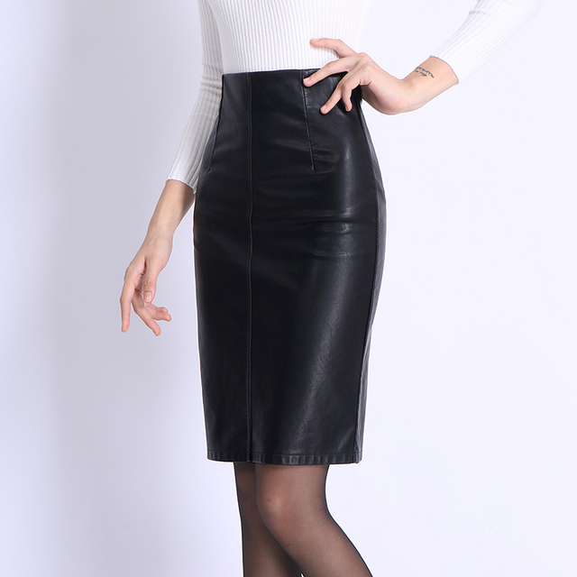 3329e00ab6 Yichaoyiliang Winter Knee-length High Waist Black Faux Leather Skirt Sexy  Office Ladies Package Hip