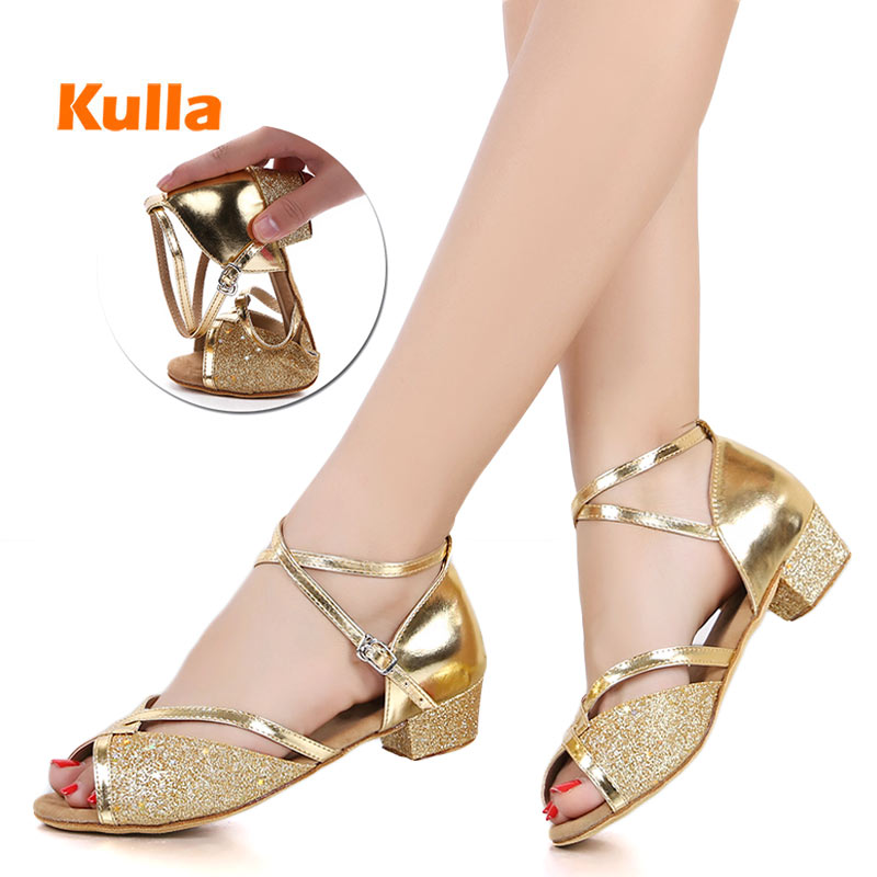 Children's Kids Latin Dance Shoes Women Ballroom Tango Latin Salsa Dancing Shoes Girl's Silver Gold Sequin Low Heels Dance Shoes