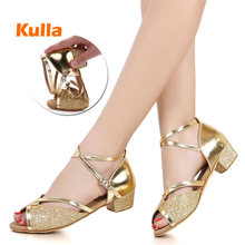 Childrens Kids Latin Dance Shoes Women Ballroom Tango Salsa Dancing Girls Silver Gold Sequin Low Heels