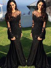 黒のイブニングドレス 2020 イスラム教徒床の長さ長袖 O ネックアップリケレーススパンコールドバイサウジアラビアアラビアフォーマルウエディングドレス