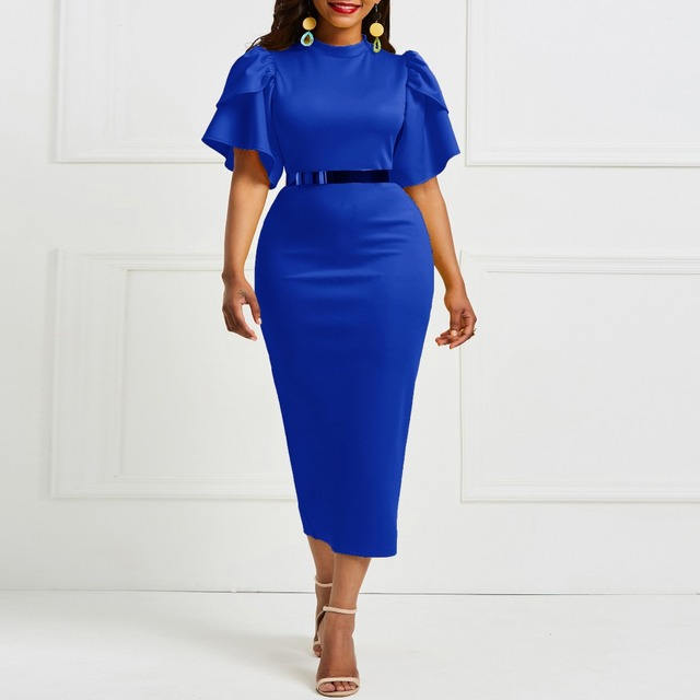 Evening Party Date Women Vintage Ruffle Yellow Blue Purple Bodycon Dress Office Lady Work Day Plus Size Midi Long Skinny Dresses 3