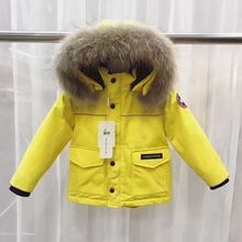Russian Winter Kids Down Coats Big Real Raccoon Fur Thick Warm Boys Girls Outwear Coat Snow Wear Children Snowsuit Down Jackect