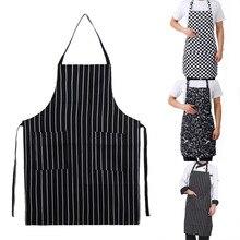 Кухонный Фартук в стиле унисекс Регулируемый черный полосатый фартук с нагрудником с 2 карманами шеф-повара кухонный и