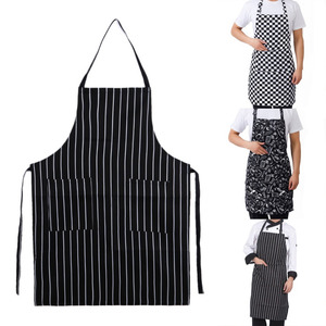 Image 1 - מטבח יוניסקס סינרי מתכוונן שחור פס סינר סינר עם 2 כיסים שף מטבח לבשל כלי לגבר אישה