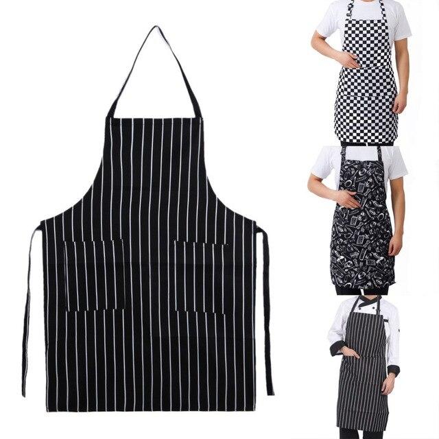 מטבח יוניסקס סינרי מתכוונן שחור פס סינר סינר עם 2 כיסים שף מטבח לבשל כלי לגבר אישה