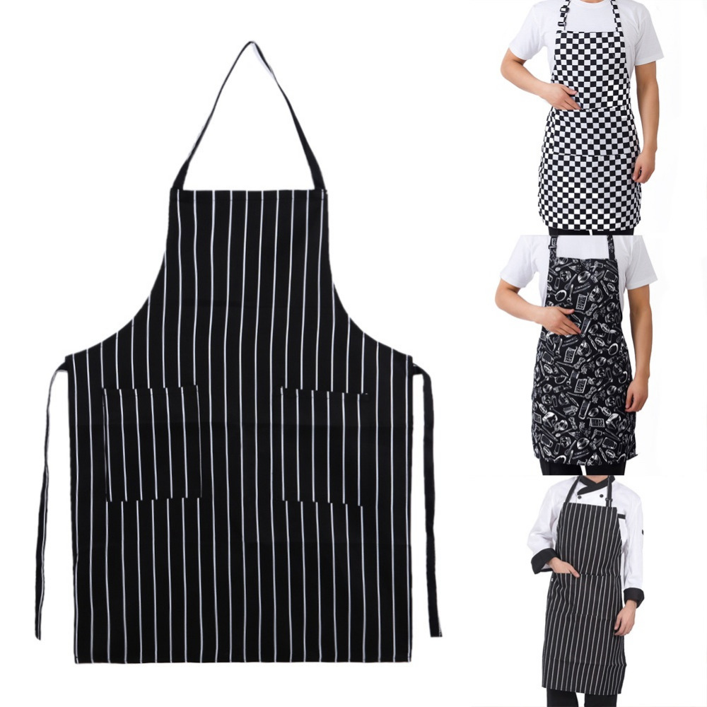 Kitchen Unisex Aprons Adjustable Black Stripe Bib Apron With 2 Pockets Chef Kitchen Cook Tool For Man Woman