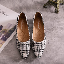 2019 autumn new sleek minimalist tweed pointed flat shoes women soft and comfortable shallow mouth casual shoes.(China)