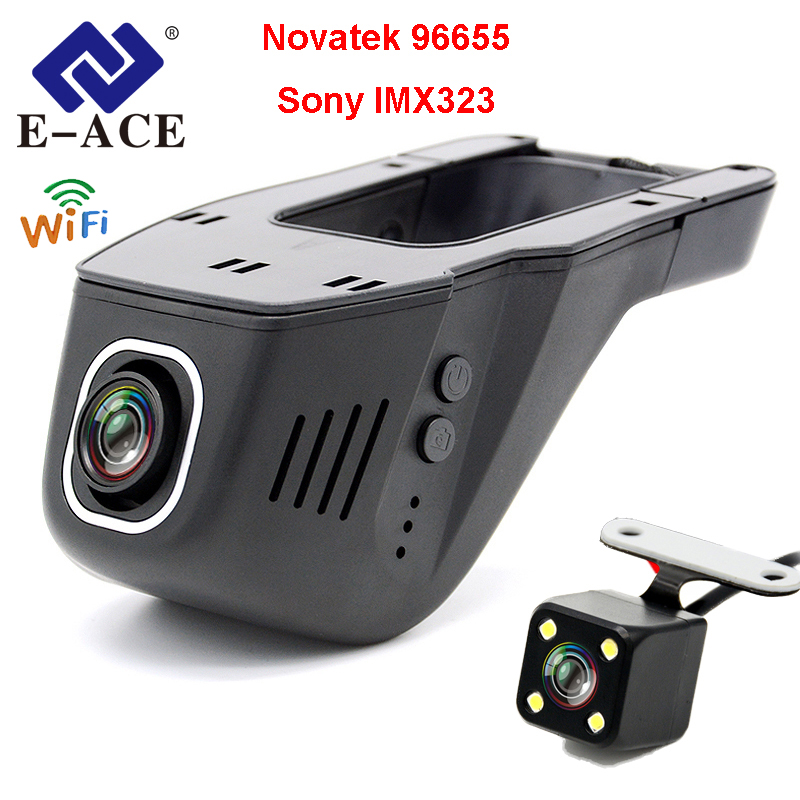 E-ACE Voiture DVR Novatek 96655 SONY IMX 323 Cachée Registrator Caméra Mini Auto Enregistreur Vidéo FHD 1080 p Nuit Vision wiFi Dash Cam