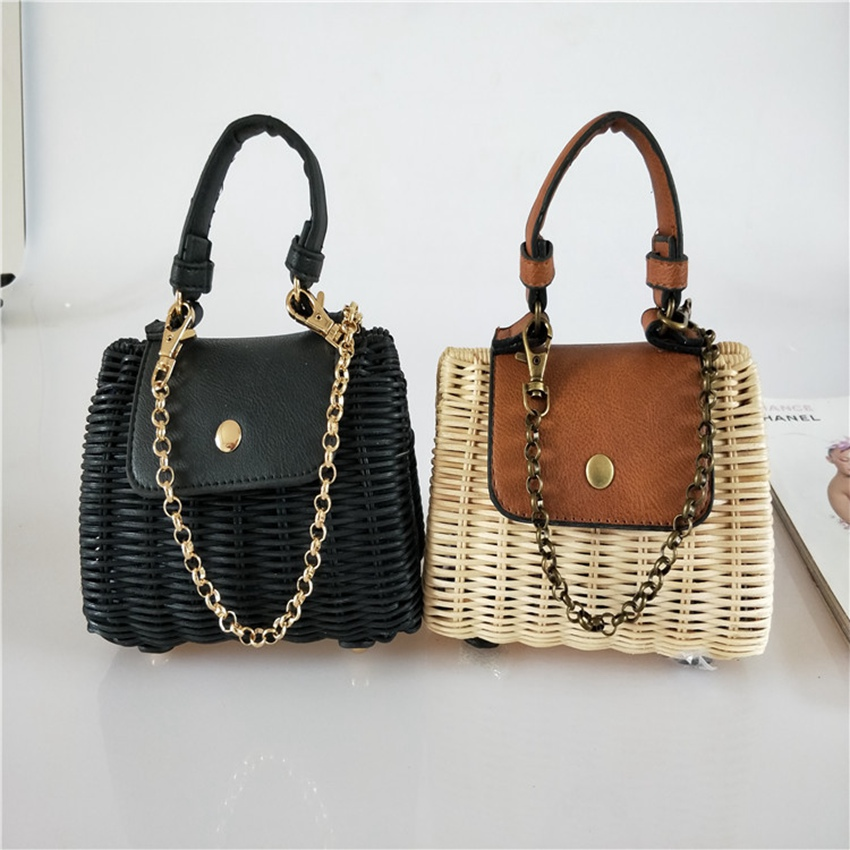 Us 33 47 25 Off New Faux Leather Flip Wicker Woven Crossbody Bag Straw Rattan Hand Beach Fashion Mini In Shoulder Bags From Luggage
