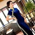 Blue Short Sleeve Cheongsam Women Dress Evening Dress Velvet Vestidos Chinese Dress Chi-Pao Wedding Dress Size: M-3XL