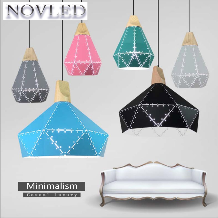E27 LED Chandelier Iron Color Paint Personality Creative Design Modern Black White Grey Blue Green Pink Yellow Lamp Without Bulb