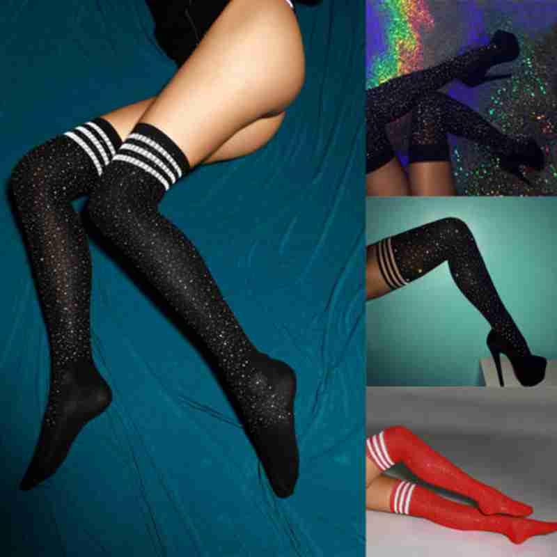 Fashion Womens Sexy Bling Glitter Over Knee Long Boot Rhinestone Stocking Thigh High Knee Stocking