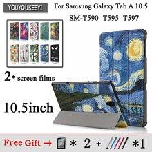 Case for Samsung Galaxy Tab A A2 10.5 inch 2018 T590 T595 SM-T597 Magnetic Leather Awake Smart Sleep Cover Coque Funda+2 films godmask awake eu