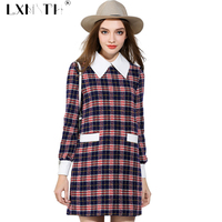 Autumn Winter Wool Dress Women Long Sleeve Plaid Dress A Linie Turn Down Collar Ladies Dresses