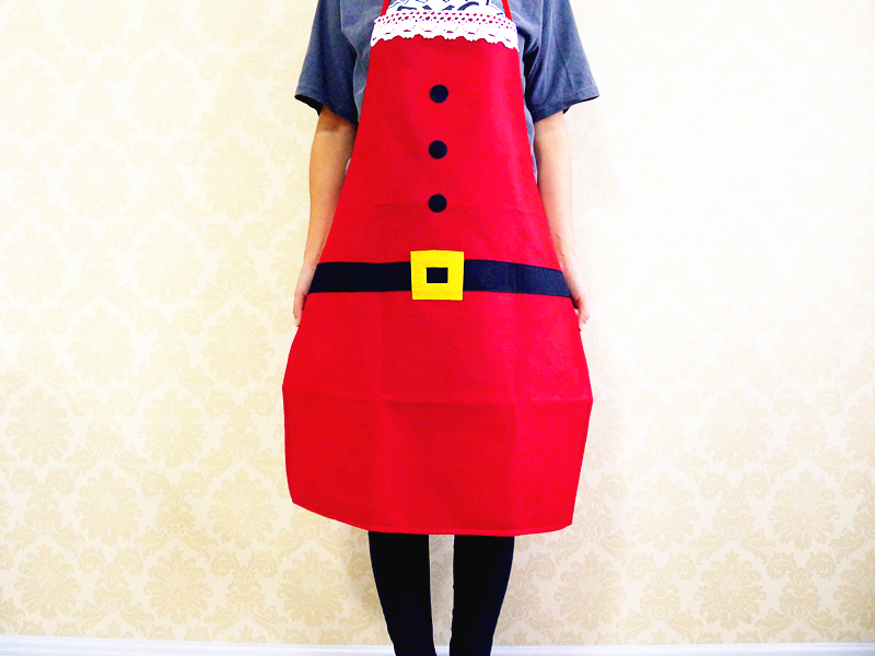 Red dress christmas kitchen
