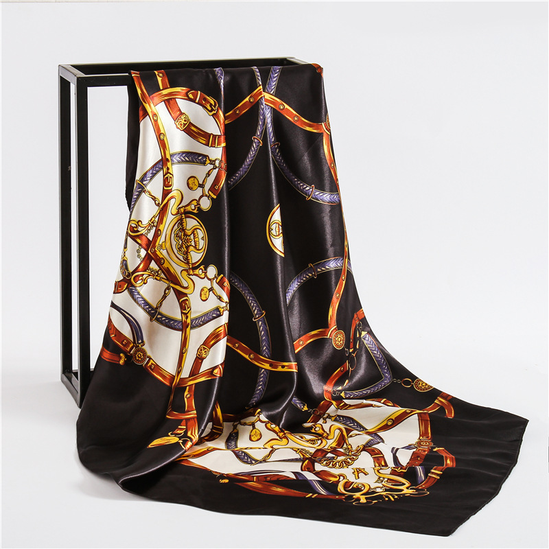 luxury brand 2018 new women silk   scarf   square smooth office neck   scarves     wrap   lady pashmina bandana foulard 90*90cm