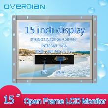15 pouces contrôle industriel Lcd moniteur VGA Interface blanc cadre ouvert Non tactile écran métal coque 1024*768