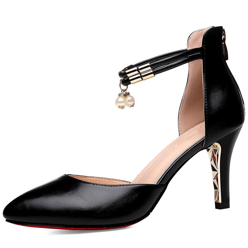 2019 Summer Elegant Women Thin High Heels Beading Sandals Female Gladiator Sexy Shoes Split Leather Black Pumps YG-A0331
