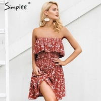 Simplee Ruffle Off Shoulder Summer Dress Women Floral Print Red Mini Dress Female Spring High Waist