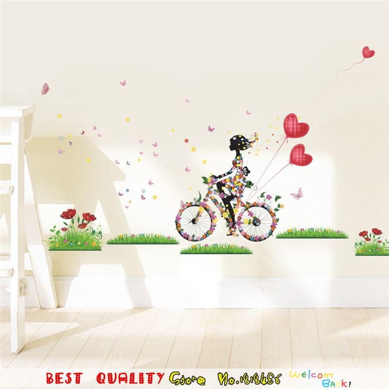 Balloon Flower Wall Decoration : Flower angel beauty butterfly balloon wall stickers home