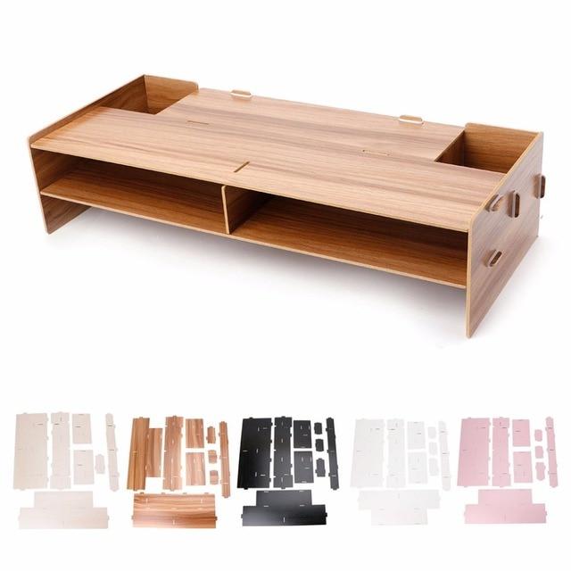 5 Colors Decorative Wood Desktop Monitor Riser Stand Holder Tv Keyboard Desk Organizer Storage Box Case