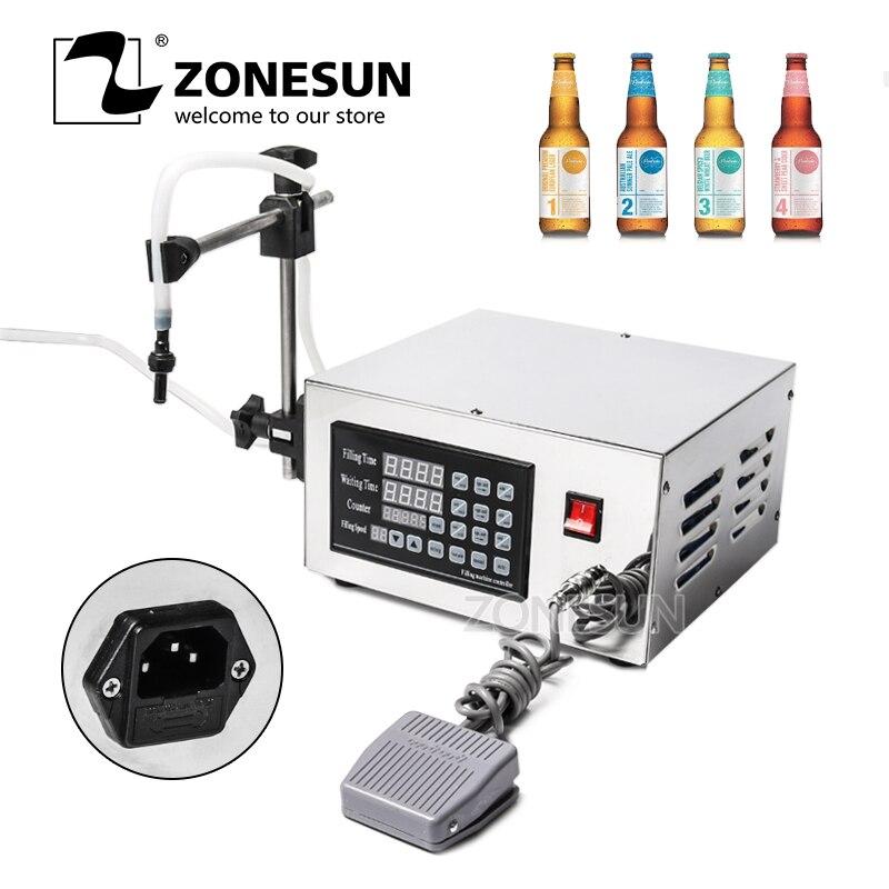 ZONESUN Filling Machine Semi Automatic Membrance Pump Liquid Alcohol Liquid Crystal Display Filling Machine Filler KC-280