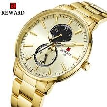 Relojes de cuarzo Relogio Masculino, relojes de marca de lujo para Hombre, Reloj dorado de acero completo, Reloj de pulsera resistente al agua para Hombre