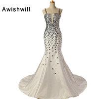 Hot Sale Robe de Soiree Vestido de Formatura Spaghetti Strap Beaded Rhinestones Backless Evening Mermaid Long Prom Dresses 2018