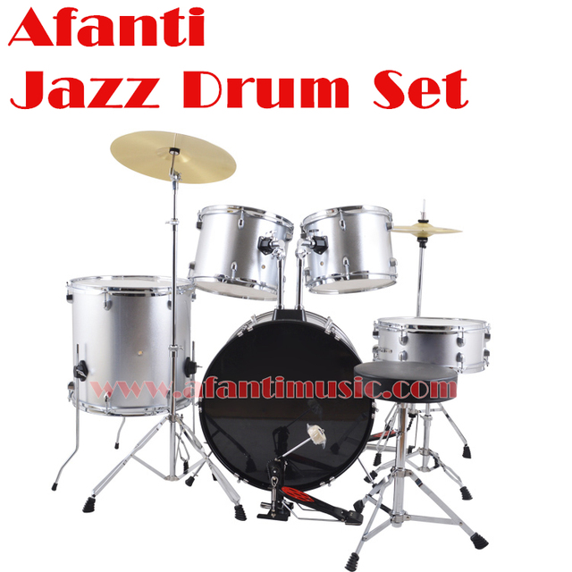 5 Drums 2 Crash Cymbals Silver Color Afanti Music Jazz Drum Set