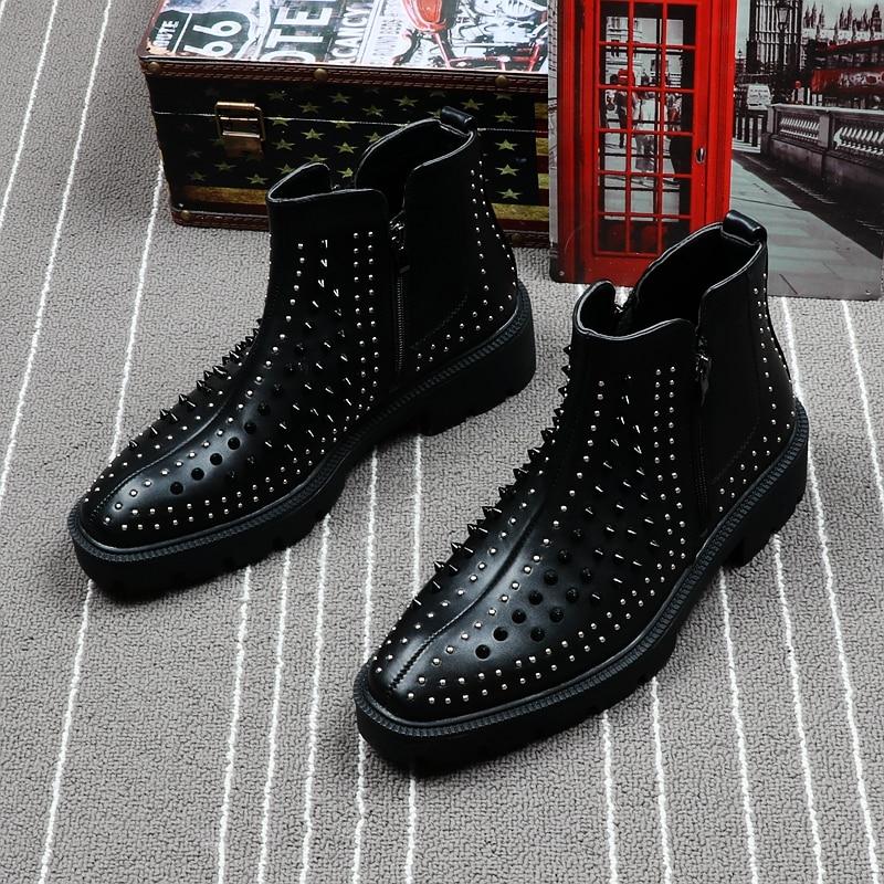 CuddlyIIPanda ผู้ชายแฟชั่นรองเท้าผ้าใบข้อเท้าฤดูใบไม้ผลิฤดูใบไม้ร่วง Punk รองเท้าหนัง Rivets ด้านซิปข้อเท้าสูง Botas Hombre บน   1