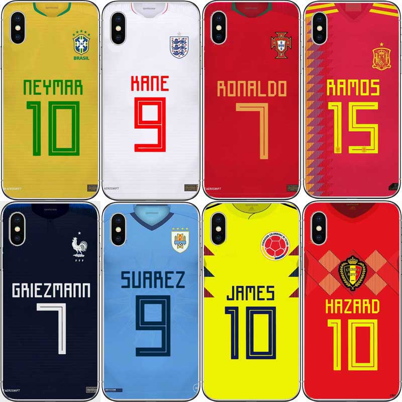 Earnest Neymar Cristiano Ronaldo Football Jersey Back Phone Case For Iphone 5s Se 6 6s 7 Xr Xs Max 6splus Hard Plastic Phone Shell