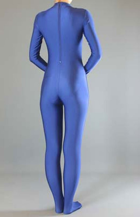 Royal Blue Womens Long Sleeve Unitard Turtleneck Spandex Lycra Zentai Bodysuit No Hood Zipper Full Body Catsuit Without Gloves 2